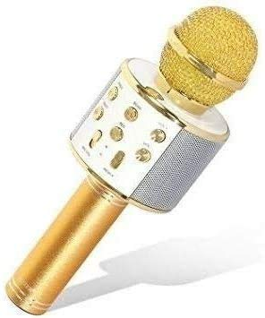 Micrófono Inalámbrico, Micrófono Karaoke Bluetooth con Altavoz, Portátil Inalámbrico Karaoke Bluetooth Dispositivo de Mano con Altavoz para Karaoke para iños adultos Casa KTV Party para Android/Iphone/Ipad/PC(Oro)