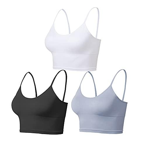 Lemef Yoga Sports Bras entrenamiento Crop Tops para mujer con almohadillas extraíbles