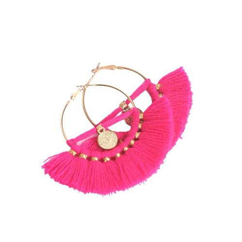 VLiving Pendientes de aro rosados, pendientes bohemios tribales