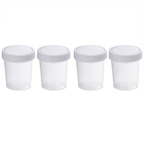 iplusmile Sterile Probensammelbecher mit Skala und Deckel, 120 ml, 4 Stück