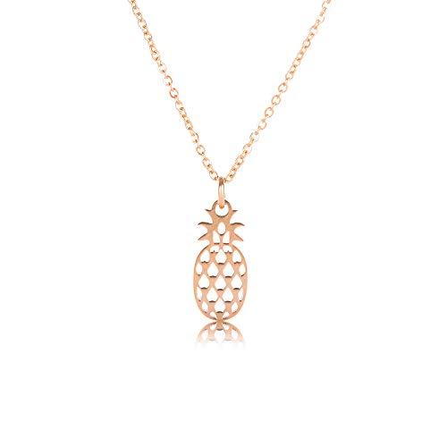 Elegante Damen Halskette – Kettenanhänger Ananas – Feiner Damenschmuck Rose-Gold Optik – Anhänger Pineapple – Ideal als Geschenk (Rosé-Optik, Pineapple)