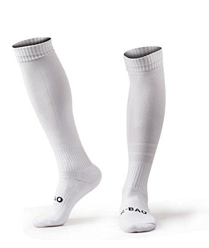 UB R-Bao Men Soccer Socks Football Competition Training Over Knee High Sports L White