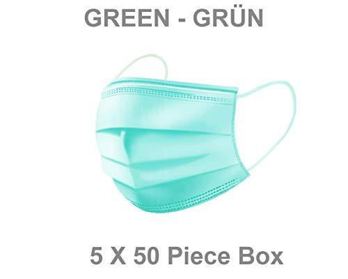 Mask Basic   3 Lagig Mundschutz  %99.5 BFE   Latex Frei   mit Gummiband   50 Stück (5, Grün)