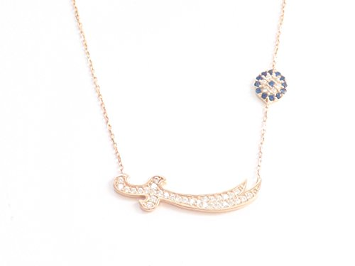 Remi Bijou 925 Silber Halskette Kette + Anhänger 'Zülfikar' oder 'Schwert' - Rosegold Farbe Zirkonia Strass - Nazar Auge - Ali Aleviten