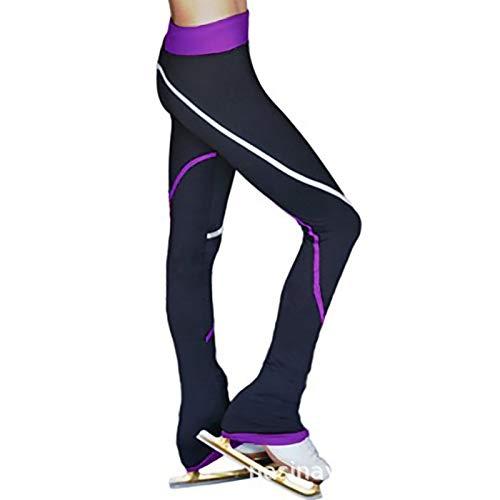 QWA Calze da Pattinaggio sul Ghiaccio, Leggings da Pattinaggio Artistico per Bambini e Adulti, Pile Polare Pantaloni Danza Lunghi (Color : Purple, Size : 155cm)