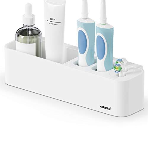 CORNERIA Easy-Store Zahnbürstenhalter - Zahnpastahalter mit Saugnapf, der frei kombiniert Werden kann -Badezimmer an der Wand befestigter Zahnbürstenbehälter
