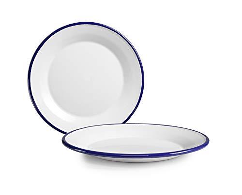 IBILI 901126 Assiette Plate, Papier, Blanc/Bleu, 26 cm
