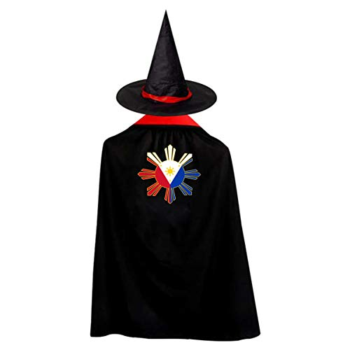 Kid's Filipino Flag Halloween Wizard Witch Cloak Cape Robe And Hat