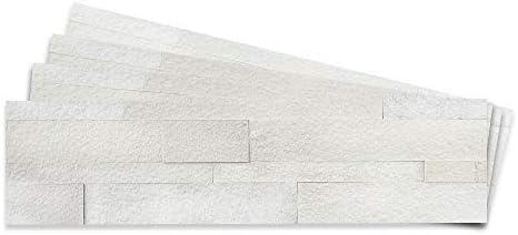 Tic Tac Tiles 4-Sheet Peel and Stick Self Adhesive Removable Stick On Kitchen Backsplash Bathroom 3D Stone Tiles/… Natural White