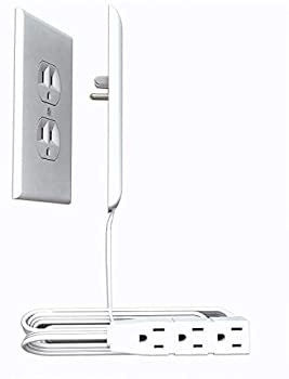 Sleek Socket Ultra-Thin Electrical Outlet Cover with 3 Outlet Power Strip and Cord Management Kit 8-Foot Universal Size
