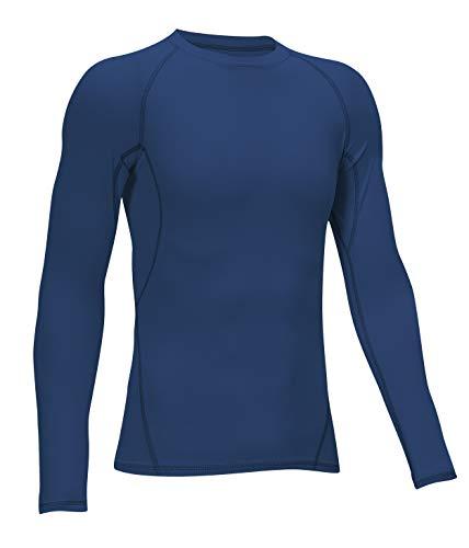 TELALEO Kompressions-Shirts für Jungen, langärmelig, Sport, Dri-Fit, feuchtigkeitsableitendes Oberteil, Baselayer -  blau -  Klein