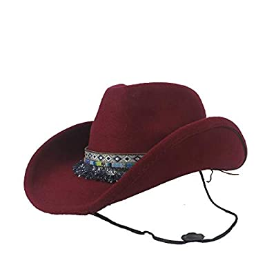 HYF Wool Hollow Western Cowboy Hat Tassel Ribbon Lady Fascinator Cowgirl Jazz Sombrero Cap for Women (Color : Deep red, Size : 56-59cm)