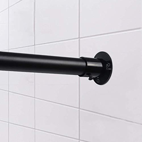 Barm Teleskop-Duschvorhangstange, Edelstahl-Fenstervorhangstange Niemals rosten Vorhangständer Nicht herunterfallen Raumteiler Spannung Vorhangstange-schwarz 100-145 cm (39-57 Zoll)