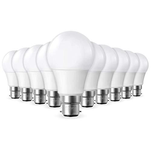Lot de 10 Ampoules LED B22 9W equivalentce 55-60W 806lm Blanc chaud 2700K, Non-Dimmable
