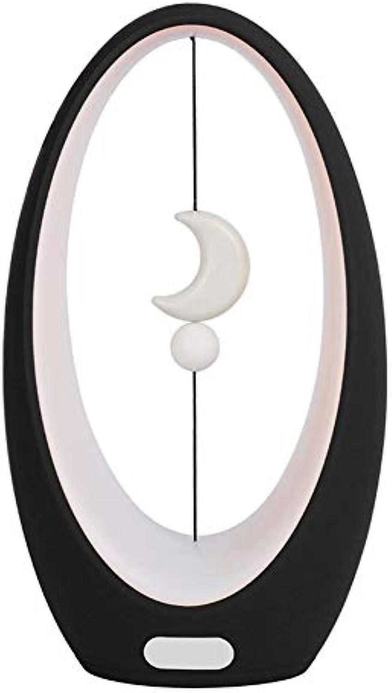 Nachttischlampe LED Tischlampe Magnetic Balance Lampe Persnlichkeit Schreibtischlampen Nachttisch Mini Schreibtischlampe für Schlafzimmer, Wohnzimmer, Babyzimmer, Bücherregal,schwarz(B)