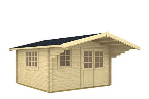 Gartenhaus ENZO B 40 ISO Blockhaus 400x400cm - 40mm - Inkl. Fußboden+Verglasung Gartenlaube Holzhaus Holzlaube