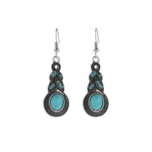 FENGMEI Pendientes de Bohemia Pendientes de Cristal Azul Retro con Incrustaciones de Turquesa