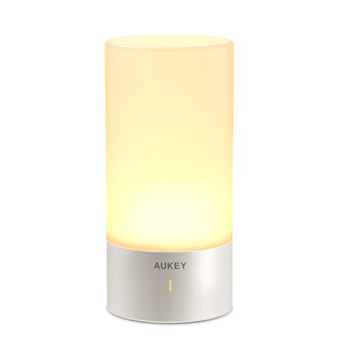 AUKEY Lampara de Mesa, Regulable Lampara de Noche de Atmosfera con Sensor de Tacto, Lampara de Tabla de Decoracion con Modo RGB y Luz Blanca Caliente, 256 Luces de Color