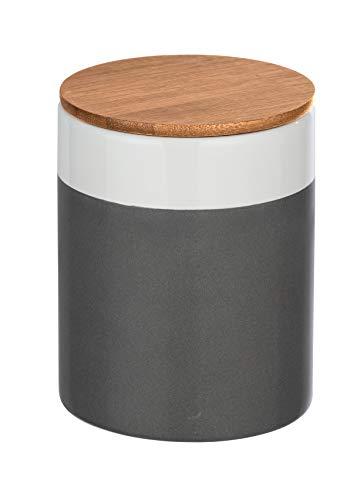 WENKO Aufbewahrungsdose Malta, 0,95 l, Vorratshaltung, Frischhaltedose mit Bambusdeckel und Silikonring zur luftdichten & aromafrischen Aufbewahrung, aus hochwertiger Keramik, Ø 11 x 15 cm, Mehrfarbig