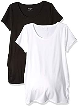 Motherhood Maternity Women s Maternity BumpStart 2 Pack Short Sleeve Tee Shirts Black/White Small