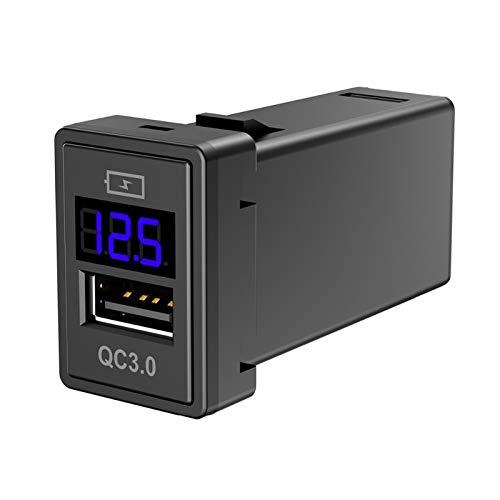 shiqi Cargador de zócalo USB de Coche rápido 3.1A Carga RÁPIDA 3.0 Ajuste para EL Cargador DE Adaptador DE AYUDO DE TELÉFONO MÓVIL 12V con Pantalla LED de voltímetro