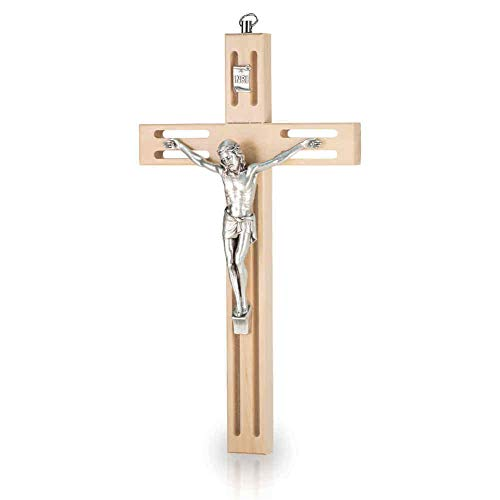 Wandkreuz Kruzifix modernes Design durchbrochen Holz Natur Christus Körper Metall Silber 20 cm Holzkreuz Schmuckkreuz