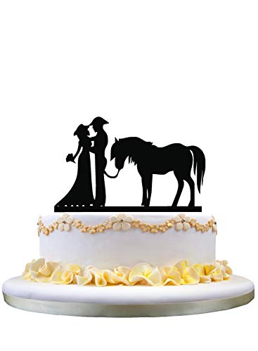 Western wedding cake topper with horse
