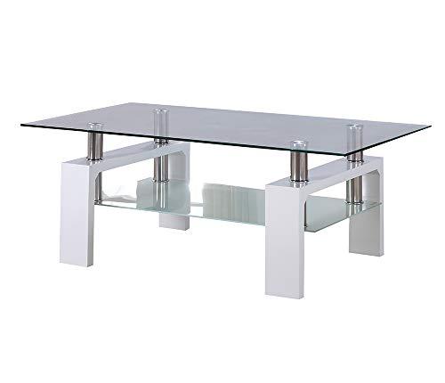 CADENTRO Table Basse Blanche laquée avec Plateau en Verre - PORTER