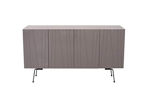 Amazon Marke - Rivet Sideboard, 150 x 40 x 85cm, grau glänzend
