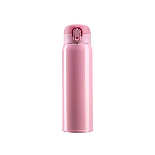 Thermos Travel Mug Thermos Cup,Stainless Steel Insulated Thermal Vacuum Cup for Hot and Cold Drinks, Men and Women Mugs Stainless Steel Cups (Color : Pink)