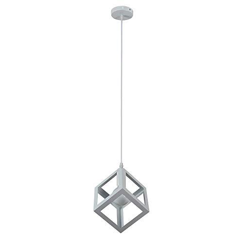 Vetrineinrete® Lampadario da soffitto pendente a sospensione a forma di cubo 3d stile geometrico portalampada e27 (Bianco)
