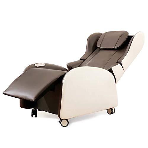 Silla reclinable de Masaje para Cine en casa, Asientos con Respaldo de ala, Cuero de PU, Moderno, sofá reclinable para Sala de Estar Individual con reposapiés (marrón)