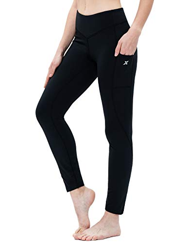 XGEAR Women's Fleece Lined Yoga Pants Yoga Leggings with Pockets Workout Running Thermal Tights Black Size L