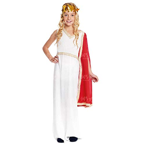 Disfraz Romana Clásica Niña Griega【Tallas Infantiles de 3 a 12 años】[Talla 7-9 años] Toga Roja Corona Laurel | Disfraces Carnaval Históricos Antigua Grecia Roma para niñas