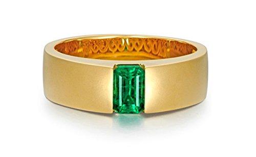 Beglie 18K/750 Gold Damen Ring 0.92Ct Smaragd Zylindrisch Solitär Ring Verlobungsring Trauring Größe 54 (17.2)