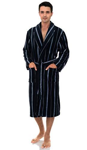 TowelSelections Men's Fleece Robe, Plush Shawl Collar Spa Bathrobe Large/X-Large Navy-Silver Stripes