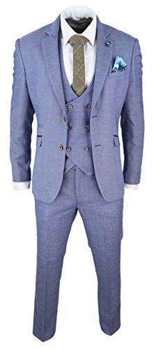 Herrenanzug 3 Teilig Blau Cavani Kollektion Slim Fit Doppelt Breasted Weste - blau 50EU/40UK Sakko- 34