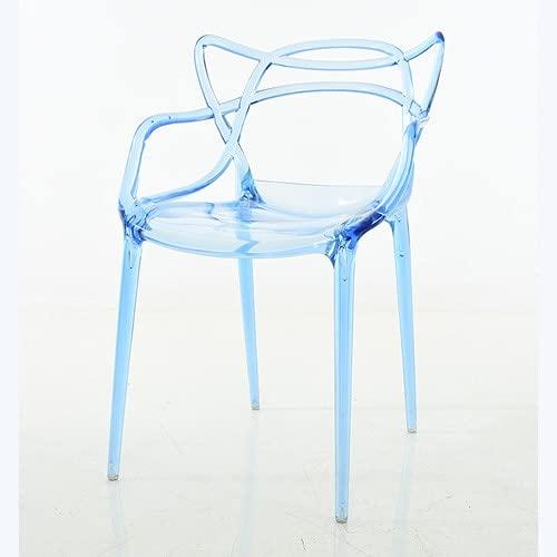 MZXUN Silla de Comedor nórdico Silla del Respaldo del diseñador Sillas de Comedor Transparente Moda al Aire Libre Cafetería Leche Tea Tienda Casa Cocina Muebles (Color : Transparent Blue)