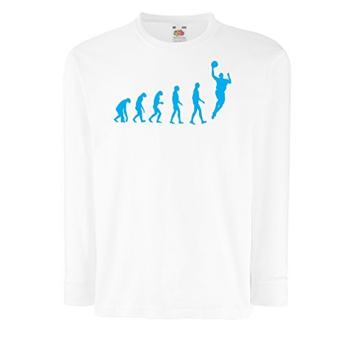 Camisetas de Manga Larga para Niño evolución de Baloncesto - Canasta de la Calle, me Encanta Este Juego, Gran Fan de Regalo (9-11 Years Blanco Azul)