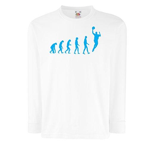 Kinder-T-Shirt mit Langen Ärmeln Evolution Basketball - Street Basket, ich Liebe Dieses Spiel, tolles Fan-Geschenk (7-8 Years Weiß Blau)