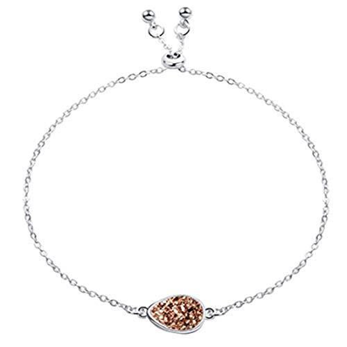 Pulsera de piedra de drusa de cristal natural geométrica, cadena de eslabones ajustable, joyería para mujer, joyería de mano (plata + marrón)