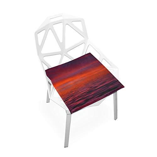 LORONA Sunrise Cloud Red Orange Mood Stoel Kussens Memory Foam Pads voor Gezond Zitten thuis, Kantoor, Keuken, Rolstoel, Eten, Patio, Camping | Vierkant 16
