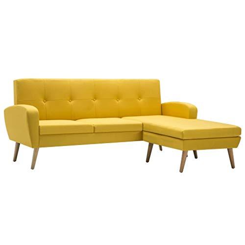 vidaXL Sofa in L-Form Stoffbezug Gelb Ecksofa Polstersofa Couch Loungesofa