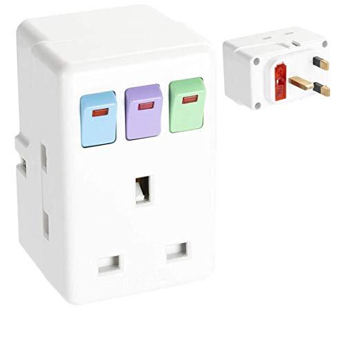 Odoukey Adaptador de Enchufe Reino Unido uno de Cada Tres enchufes de extensión con interruptores Circuito Protegido