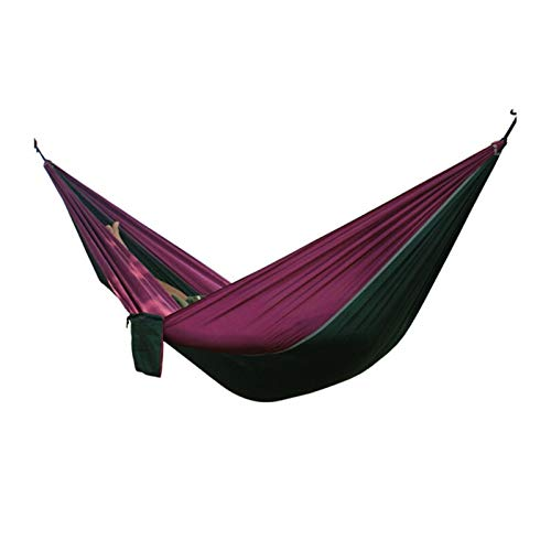 LIANYG Hammock Single Double Hammock Adult Outdoor Backpacking Travel Survival Sleeping Bed Portable With 2 Straps 2 Carabiner 144 (Color : Purple green)