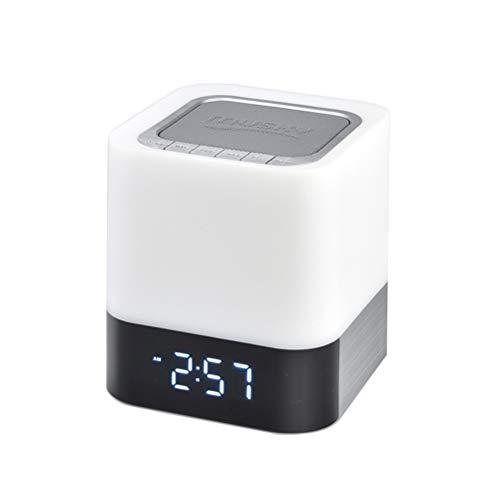 Uonlytech - Luz nocturna con altavoz y sensor táctil, luz de noche, cambio de color, despertador, reproductor de MP3, USB, AUX, para fiestas, dormitorios al aire libre (monocromo)
