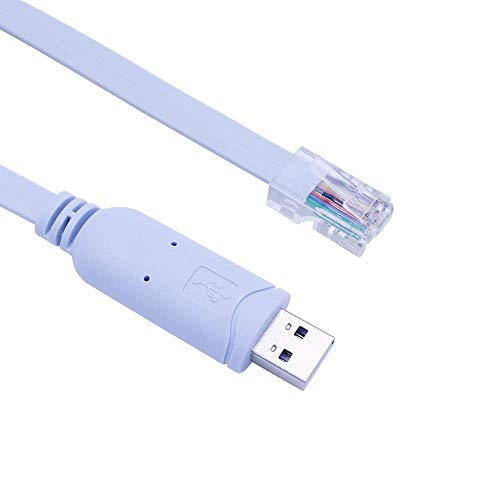 Cable USB a consola, cable de consola USB de Cisco, consola USB a Rj45, cable de consola Cisco para Windows/Vista/MAC/Linux (1,8 m), color azul