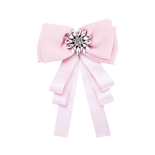 TENDYCOCO - Broche para camisa con lazo y mariposa, diseño de lazo y corbata, para mujer, color negro rosa 22.3 * 15 cm
