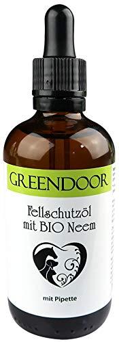 Greendoor Fellschutz-Öl mit Bio Neem 100ml für Hunde, Katzen, Pferde, natürliche Fellpflege mit extra Schutz, Fellschutzöl desinfiziert kleine Wunden, schnellere Heilung, Fell Pflege, Natur Tierpflege