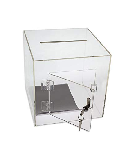 Source One Premium Acrylic Cube Donation Box with Deluxe Rear Open Door and Cam Lock Suggestion Box